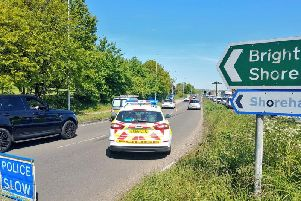 The lane closure, near the Grinstead Lane roundabout. Picture: Twitter/Adur and Worthing Police