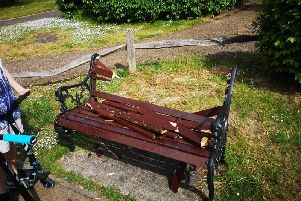 The damaged memorial bench at Aldwick's duck pond
