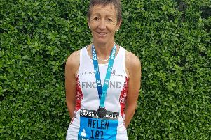 Proud Helen Dean in her England vest at Birmingham