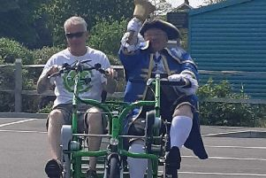 Rob Walters with Worthing town crier Bob Smytherman at South Downs Leisure's Active 50+ Day