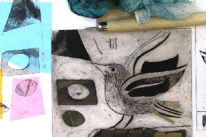 cathedral peregrine courses drypoint birds in row