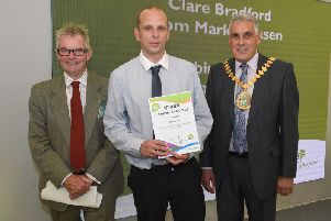 Lincolnshire Show. Lincolnshire County Council, Inspirational Learners awards, presented by leader of LCC Martin Hill (left) and chairman of LCC Tony Bridges (right). Robin Aldrich of Boston