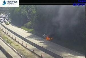 Car fire on the M27 this morning. Picture: Highways England