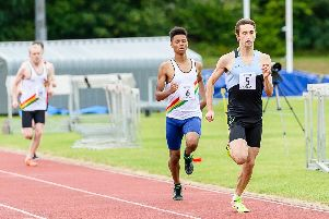 Adam Wright winning the 800m for Rugby & Northampton AC in the Midland League meeting at the Rugby track on Saturday