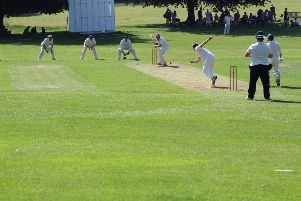 Boxmoor's ever-watchful batter Aidan Pimm in action for the club against Watton-at-Stone the previous weekend.
