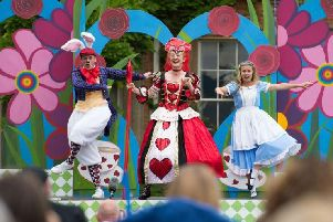 Alice in Wonderland at Claydon Estate featuring The Mad Hatter, The Queen of Hearts and Alice