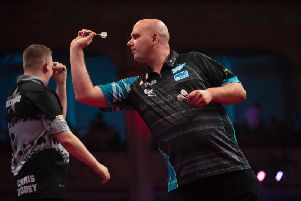 Rob Cross during his victory in Blackpool. Picture by Lawrence Lustig/PDC