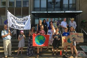 Climate change protesters outside Warwickshire County Council's headquarters at Shire Hall in Warwick.
