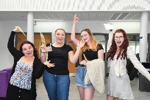 Francesca Bohea (second from right) and Isobel Mcveigh (right) celebrate with friends
