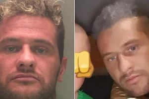 The police mugshot released while Stephen Murphy was on the run, and the picture he posted on a newspaper's social media page