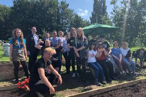 MP Matt Warman and Mayor of Skegness Coun Mark Dannatt at the County Care allotment with NCS Skegness.