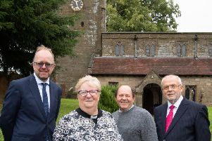 Gregg Wilkinson (left) and Liam ORiordan (right) from L&Q with the Rev Elaine Scrivens and Roderick Smith from St Chads outside the church.