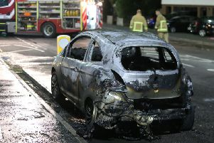 Pictures show the damage done to the car