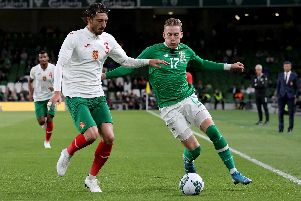 Ronan Curtis in action against Bulgaria. Picture: PAUL FAITH/AFP/Getty Images