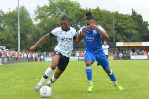 Josh Neufville in action for Luton during pre-season