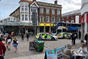 Officers at the scene this afternoon. Picture by Adam Nixon