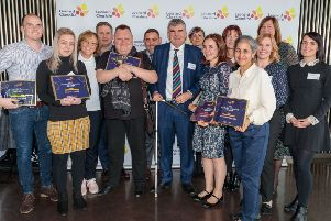 Macaela Fuller, second left, with other winners at the Leonard Cheshire Awards 2019