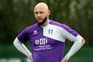 Aaron King hit both goals for Daventry Town against Welwyn Garden City