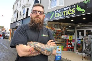Littlehampton Exotics owner Mike Ricard-Worth speaks out about street drinking in the town centre. Pic Steve Robards