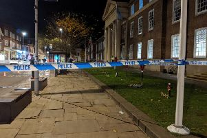 The scene of the incident outside Worthing Town Hall this evening (November 7)