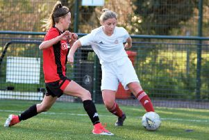 Worthing's Beth McKellar in action against Lewes U18 on Sunday