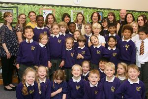 Staff and pupils at St Mary's Catholic Primary School in Worthing