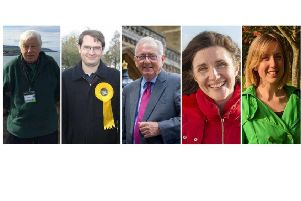 The candidates: David Aherne (Independent), Jamie Bennett (Lib Dem), Sir Peter Bottomley (Conservative), Beccy Cooper (Labour), Jo Paul (Green)