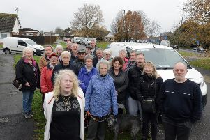 Wendy Egan, front left, and other residents Oakcroft Gardens who are fed up with Amazon drivers parking in their road