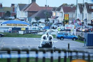 The air ambulance attended the scene on Monday (January 6)