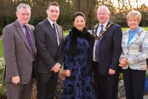 (L-R) Eugene McKeever, Founder, McKeever Hotel Group; Eddie McKeever, Operations Director, McKeever Hotel Group; Chinese Consul General Madame Zhang; Mayor of Antrim and Newtownabbey, Alderman John Smyth; Suzanne McPhillips, Business Development Manager, McKeever Hotel Group