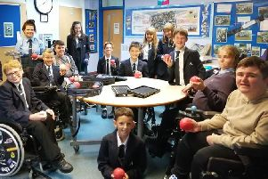 Students at the Lavinia Norfolk Centre celebrating National Boccia Day