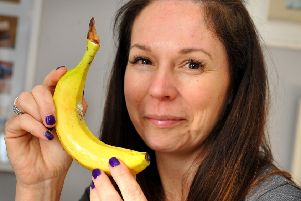 Clare Francis discovered a spider's nest growing on Lidl banana. Pic Steve Robards SR20012803 SUS-200128-215055001