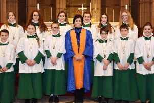 Arundel Cathedral choristers with Dame Mary Archer, president of the Guild of Church Musicians. Photo: Guild of Church Musicians