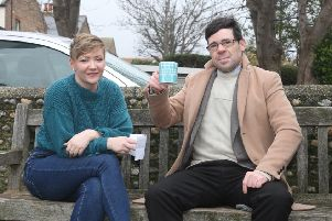 Sophie Moore and Chris Lawson at the bench where they first met