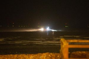The search operation off the coast of Worthing last night (February 28)