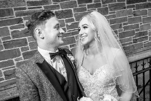 Michael and Jessica Clarke pictured on their wedding day three months ago (pic by Stephen Latimer)