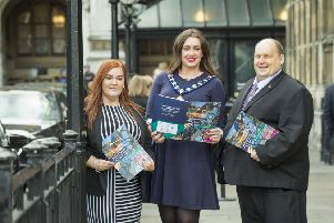 Helping to showcase Mid & East Antrim projects as part of the Belfast Region City Deal are Anne Donaghy,  council chief executive,  Mayor Cllr Lindsay Millar and Cllr Gregg McKeen. Pic: John M Fulton.
