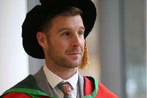 World Superbike Champion Jonathan Rea collects his Honorary Graduate from the University of Ulster