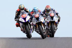 Alastair Seeley, Peter Hickman and Dan Kneen in action in the second Superstock race at the 2018 North West 200.