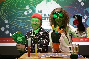 Ryan Tracey, Duff Balloons and the Professor pictured at the launch of the 2019 NI Science Festival on Thursday, January 10, at the Nerve Centre. For more information about NI Science Festival events and to purchase tickets, visit nisciencefestival.com.