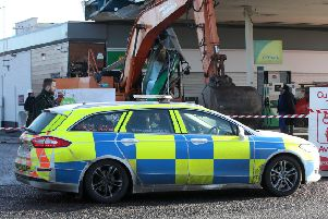 An ATM was taken from a filling station on the Glenavy Road, near Moira, shortly after 03:05 GMT on Saturday morning. Photograph by Declan Roughan