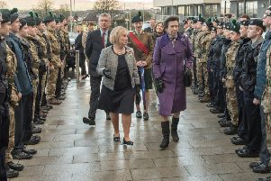 HRH The Princess Royal, who toured the new Foyle College on the Limavady Road as she performed the official opening Ceremony . Picture Martin McKeown. Inpresspics.com. 07.02.18