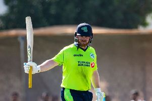 Ireland captain, Paul Stirling, reaches his half century as Ireland beat Oman on the first day of the Oman Quadrangular Series