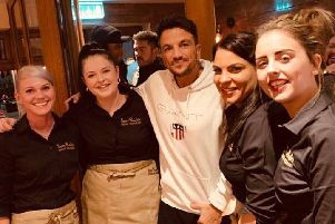 Peter Andre pictured with San Rufo's staff Aga, Abi, Cynthia and Carly. Images supplied.