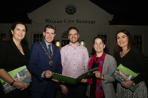 Mayor of Derry City and Strabane District Council Cllr John Boyle launching the NICHE EU Interreg Project funded Local Food and Drink Strategy Action Plan for 2019-2025, along with Aeidin McCarter, Head of Culture with Derry City and Strabane District Council. The strategy was launched as part of a Legenderry Food Experience event hosted by the Walled City Brewery, also included is Catherine Goligher, food tourism officer with Derry City and Strabane District Council, James Huey, owner of the Walled City Brewery and Jennifer O'Donnell, Tourism Manager with Derry City and Strabane District Council