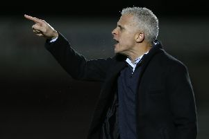 Keith Curle was his usual vocal presence on the touchline during Tuesday's game. Picture: Getty.