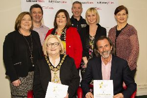 Pictured at the launch of the Causeway Coast & Glens People of the Year Awards 2019 are (Back) Niall McShane & Russell Kelly Fuelwise and Score (Middle) Cheryl Delargy , Times, Caroline Corr, Calor Gas, Joanne Coyles, Willies Orphan Fund, Una Culkin, Times. (front) Mayor Brenda Chivers and Willie Gregg , Willies Orphan Fund.     INCR11-19003BW