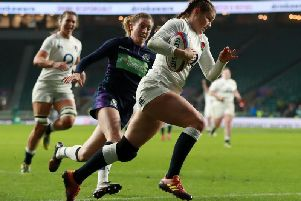 Jess Breach on her way to a try against Scotland / Picture from RFU Collection via Getty Images