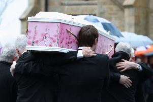 The coffin of Lauren Bullock arriving for funeral at St Patrick's Church, Donaghmore. Photo: Liam McBurney/PA Wire