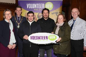 Volunteers from Londonderry celebrate their Millennium Volunteer success with Denise Hayward, Chief Executive, Volunteer Now, Councillor John Boyle Mayor of Derry City and Strabane District Council and guest speaker Dr Barny Toal, Director, Innovate NI